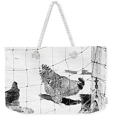 Weekender Tote Bag featuring the photograph Black And White Rooster by Denise Romano