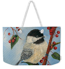 Black Capped Chickadee And Winterberries Weekender Tote Bag
