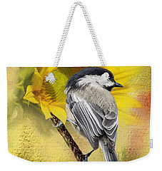 Black Capped Chickadee Checking Out The Sunflowers Weekender Tote Bag