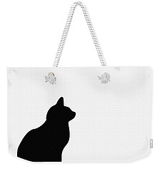 Black Cat Silhouette On A White Background Weekender Tote Bag