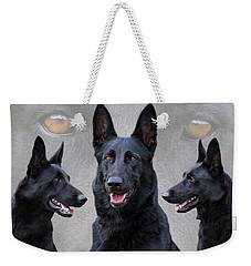 Black German Shepherd Dog Collage Weekender Tote Bag by Sandy Keeton