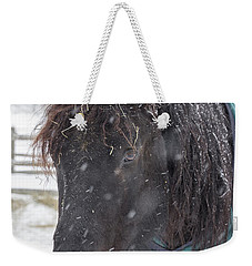 Black Horse In Snow Weekender Tote Bag