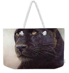 Black Leopard Painting Weekender Tote Bag by Rachel Stribbling