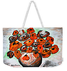 Weekender Tote Bag featuring the painting Black Poppies by Ramona Matei