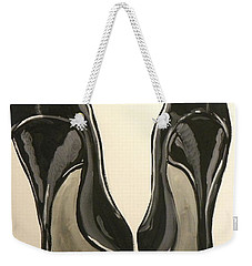 Weekender Tote Bag featuring the painting Black Pumps by Marisela Mungia