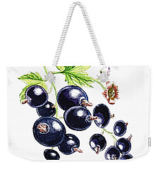 Weekender Tote Bag featuring the painting Blackcurrant Berries  by Irina Sztukowski