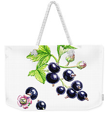 Weekender Tote Bag featuring the painting Blackcurrant Botanical Study by Irina Sztukowski