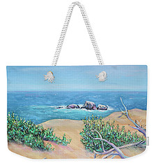 Weekender Tote Bag featuring the painting Bleached Cedar And Ocean Rocks by Asha Carolyn Young
