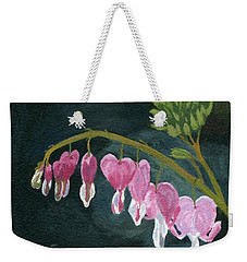 Weekender Tote Bag featuring the painting Bleeding Heart by Lynne Reichhart