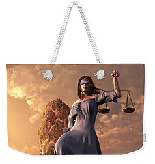 Blind Justice With Scales And Sword Weekender Tote Bag