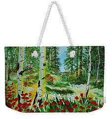Weekender Tote Bag featuring the painting Bliss by Leslie Allen