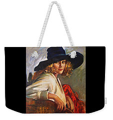 Weekender Tote Bag featuring the painting Blonde Lady - Black Hat by Pg Reproductions