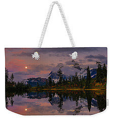 Bloodmoon Rise Over Picture Lake Weekender Tote Bag