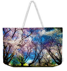 Blossom Cherry Trees Over Spring Sky Weekender Tote Bag by Lanjee Chee