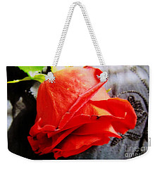 Weekender Tote Bag featuring the photograph Blossoming Red by Robyn King