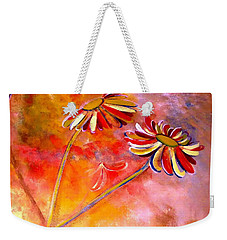 Weekender Tote Bag featuring the painting Blown Backward Fall Floral by Lisa Kaiser