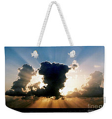 Weekender Tote Bag featuring the photograph Blue And Gold Rays Sunset In The Gulf Of Mexico Off The Coast Of Louisiana by Michael Hoard