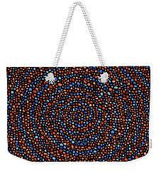 Weekender Tote Bag featuring the digital art Blue And Orange Circles by Janice Dunbar