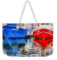 Blue And Red Weekender Tote Bag