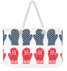 Blue And Red Mitten Pattern Weekender Tote Bag