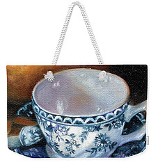 Blue And White Teacup With Spoon Weekender Tote Bag