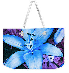Weekender Tote Bag featuring the photograph Blue Asiatic Lily by Shawna Rowe