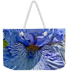 Weekender Tote Bag featuring the photograph Blue Bearded Iris by Joann Copeland-Paul