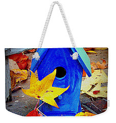 Weekender Tote Bag featuring the photograph Blue Bird House by Rodney Lee Williams