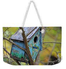 Weekender Tote Bag featuring the photograph Blue Birdhouse by Gordon Elwell