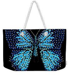 Blue Butterfly Black Background Weekender Tote Bag