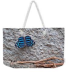 Blue Butterfly Myscelia Ethusa Art Prints Weekender Tote Bag by Valerie Garner