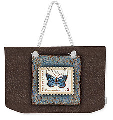 Blue Butterfly On Copper Weekender Tote Bag