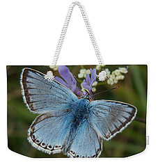 Blue Butterfly Weekender Tote Bag by Ron Harpham
