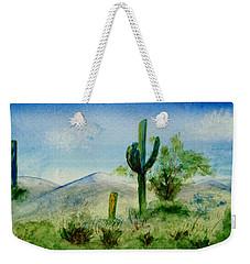 Weekender Tote Bag featuring the painting Blue Cactus by Jamie Frier