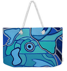 Blue Chicken Abstract Weekender Tote Bag