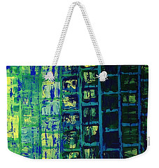 Weekender Tote Bag featuring the painting Blue City 2 by Linda Bailey