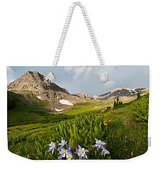 Weekender Tote Bag featuring the photograph Handie's Peak And Blue Columbine On A Summer Morning by Cascade Colors