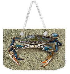 Blue Crab Confrontation Weekender Tote Bag by Sandi OReilly