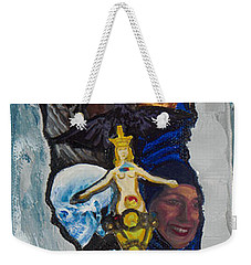 Blue Crow Feather- Crow Series Weekender Tote Bag by Emily McLaughlin