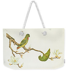 Blue Crowned Parakeet Hannging On A Magnolia Branch Weekender Tote Bag by Chinese School