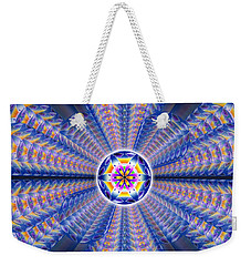 Weekender Tote Bag featuring the drawing Blue Crystal Consciousness by Derek Gedney