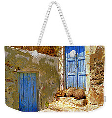 Blue Doors Of Santorini Weekender Tote Bag