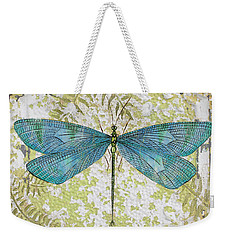 Blue Dragonfly On Vintage Tin Weekender Tote Bag by Jean Plout
