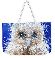 Blue Eyed Owl Painting Weekender Tote Bag by Jan Matson
