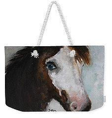 Weekender Tote Bag featuring the painting Razzle  by Barbie Batson