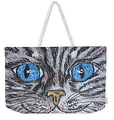 Blue Eyed Stripped Cat Weekender Tote Bag