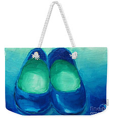 Weekender Tote Bag featuring the painting Blue Flats by Marisela Mungia