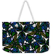 Weekender Tote Bag featuring the digital art Blue Flowers by Elizabeth McTaggart