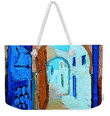 Weekender Tote Bag featuring the painting Blue Gate by Ana Maria Edulescu