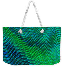 Blue Green Fabric Abstract Weekender Tote Bag by Jane McIlroy